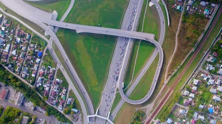 central business district : Aerial view of the top of the highway, traffic jam. Interchange on the bridge Stock Footage