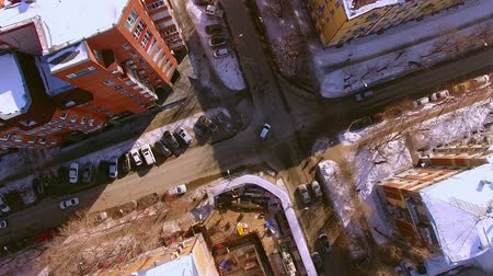 coldness : The copter flies over winter street in the city of Novosibirsk. View down