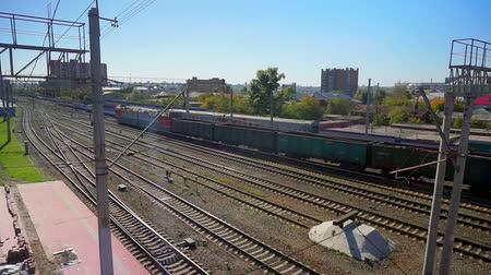 ahead : Empty freight train leaves the station of the city of Novosibirsk
