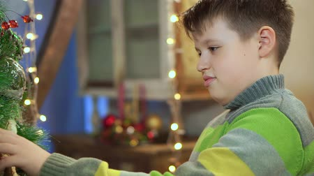 grabbing : A boy in a sweater near the Christmas tree at home, examines it. On the background of Christmas lights