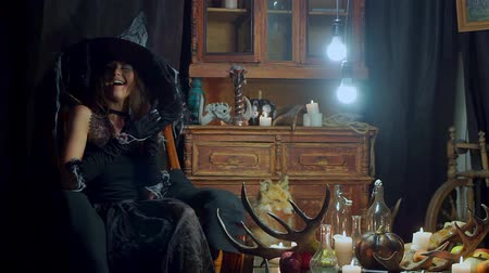 hag : witch swings in the chair and comes up with evil plans rubbing her hands