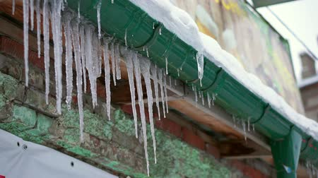 melts : Melting icicles dripping. Hang from the roof and drain Stock Footage