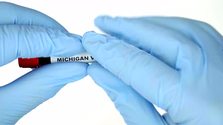 analyzes : Hands in blue gloves, keep medical tube with real blood. They paste shortcut MICHIGAN virus. Isolated on a white background