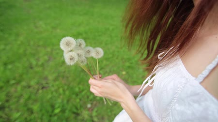 braces : A young girl collects dandelions in a clearing in a nice sunny day, shot at a corner Stock Footage