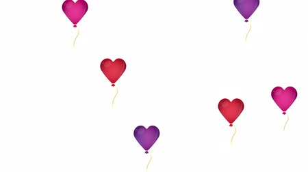 tebrik etmek : Balloons heart. Background of hearts. Valentines day, animation with the alpha channel enabled