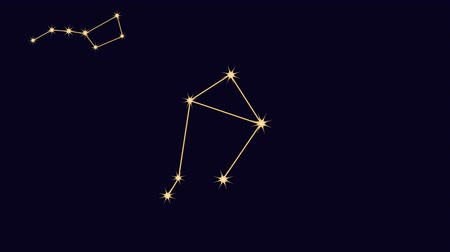 pisces : Constellations. Stars in the sky, animation with the alpha channel enabled Stock Footage