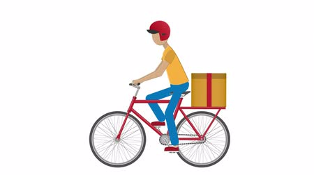 Delivery man on a Bicycle. Fast delivery. Courier, animation with alpha channel enabled Стоковые видеозаписи