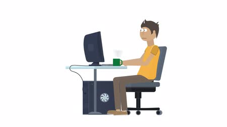 Freelancer. The user of the computer animation with the included alpha channel Стоковые видеозаписи