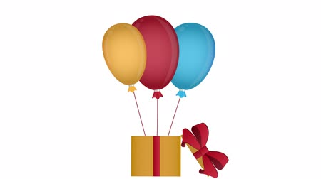 Balloons with a gift. Advertising, animation with the alpha channel enabled