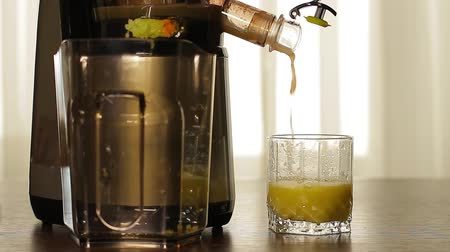 diety : Womans hand  adding celery in juicer machine. Fresh celery juice pours of juicers in a glass on the table. Dostupné videozáznamy