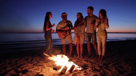şenlik ateşi : Young people having fun around the campfire. Young guys and girls play guitar and sing. Tourist group in the campaign. Stok Video