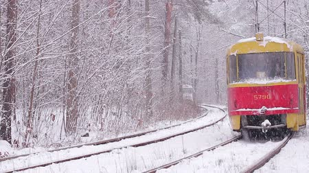 lokomotif : Kiev, Ukraine 12.01.2015. Tram go through the winter wood. The railway in the winter. Snow element.