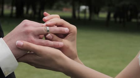dedo : Bride putting wedding ring on grooms finger.
