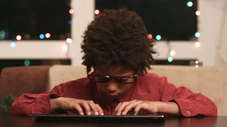 darkskinned : Future programmer. Indigo child. Stock Footage
