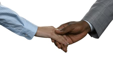 darkskinned : Afro businessman shaking womans hand. Business handshake on white background. Unity means strength. Choose your allies carefully.