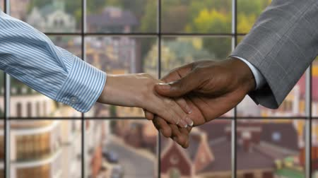 darkskinned : Black man shaking businesswomans hand. Business handshake on urban background. Starting career in big company. New employees have good perspectives. Stock Footage