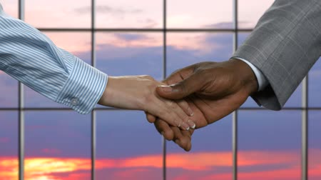 darkskinned : Afro man shaking businesswomans hand. Businesspeople shake hands at sunset. Step towards a brighter future. Trust is the key.