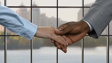 darkskinned : Businessman shaking young womans hand. Business handshake in capital city. This land belongs to us. Learn to share with others. Stock Footage