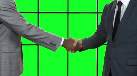 desteklemek : Businessman shakes afro mans hand. Mens handshake on green background. Sign of good manners. Nice to meet you.