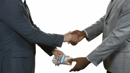 gesture pack : Businessmen with cash shaking hands. Money transfer on blank background. You have been promoted. Climbing the carrer ladder. Stock Footage