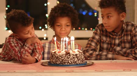 suécia : Kids and cake with candles. Little boys at the table. Time to make a wish. Birthday of our brother.
