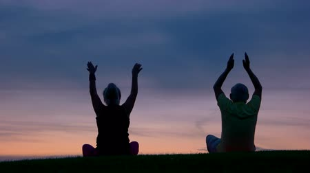 strong granny : Couple doing yoga. People on sunset sky background. Strive to harmony. Way to peace and balance. Stock Footage