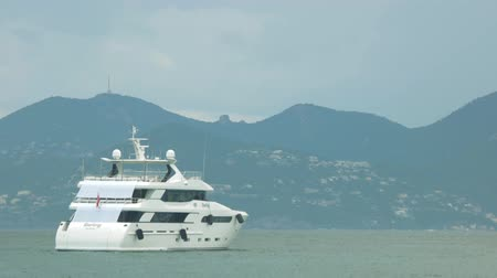 wealth : Big motor yacht. Wealth gives great travel opportunities. Stock Footage