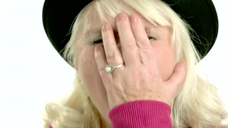 unlucky : Facepalm gesture isolated. Old woman on white background. What a fail. Stock Footage