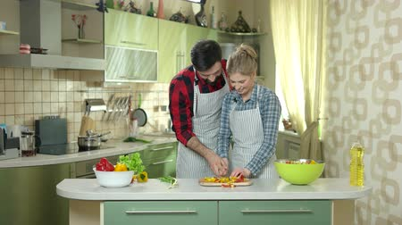 culinária : Happy couple cooking. Woman kissing man, kitchen. Love and teamwork.