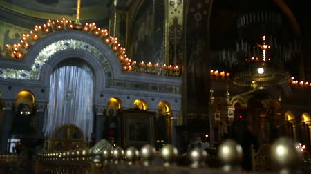 murals : Interior of the Orthodox Cathedral before serving Stock Footage
