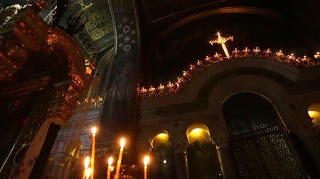 murals : Candles in the interior of the historic of the Orthodox Cathedral Stock Footage