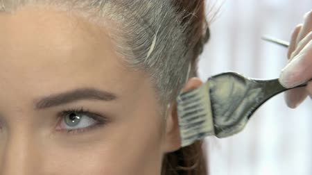 краситель : Hair dying process, close up. Hand and brush, hair color.