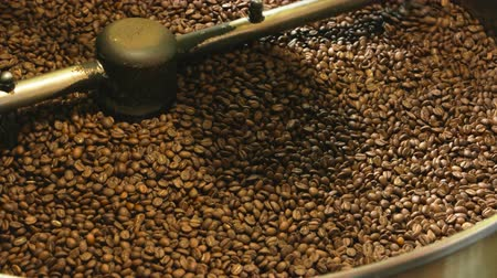 organic : Coffee roasting machine close up. Lots of dark coffee beans. Difference between arabica and robusta. Stock Footage