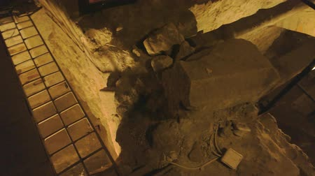 old dungeons : Old cellars light dungeons of Lviv. Stock Footage