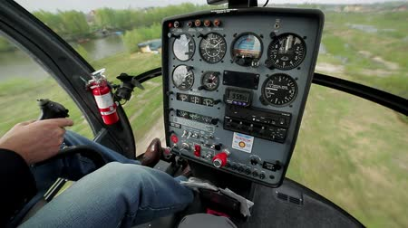 tachometer : Instrument panel in the cabin of the helicopter. Take off in a helicopter. Stock Footage