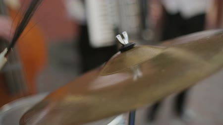 abilities : Hands of drummer. The musical group performs. Street musicians. Musicians play. Jazz quartet. Stock Footage
