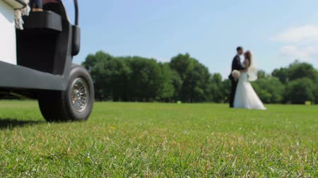 fidelity : Happy newlyweds kissing on a golf course. Bride and groom walking on the golf course. Wedding day.