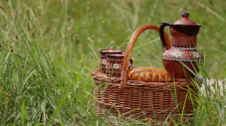 soupis : Picnic on the nature. Weekend in the summer outdoors. Basket with food in the grass. Picnic set. Objects for a picnic. Summer rest. Dostupné videozáznamy