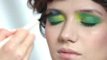 dokonalost : Hand with brush applying eyeshadow. Face of young woman, makeup. Dostupné videozáznamy