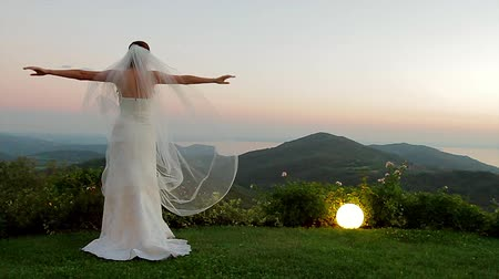 fidelity : Bride standing on background of beautiful landscape. Bride enjoying the sunset.