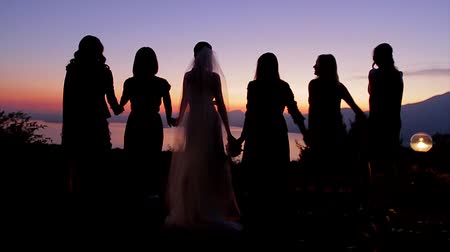 fidelity : Bride with bridesmaids holding hands and enjoying the sunset.