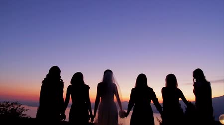 fidelity : Wedding in the mountains. Bride with bridesmaids enjoying a beautiful evening.