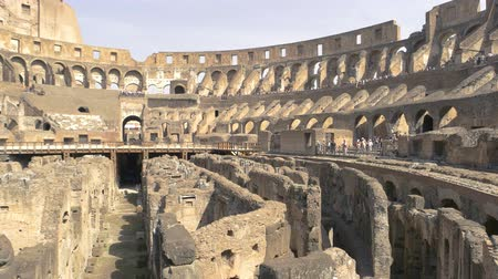 flavian : Colosseum ruins and people. Landmark of Rome.