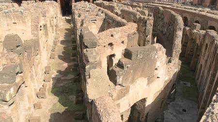 hypogeum : Inner part of Colosseum. Ruins and sunlight. Remnants of might. Stock Footage