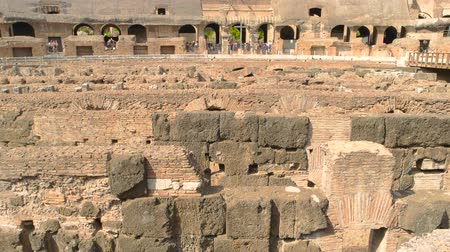 might : Ancient walls and sunlight. Roman Colosseum, hypogeum. Stock Footage
