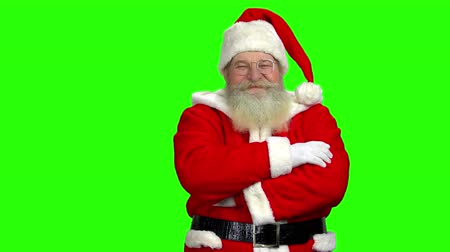 lenda : Santa Claus on green background. Santa with folded arms. Stock Footage