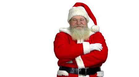 costumes : Santa with folded arms isolated. Santa Claus, white background.
