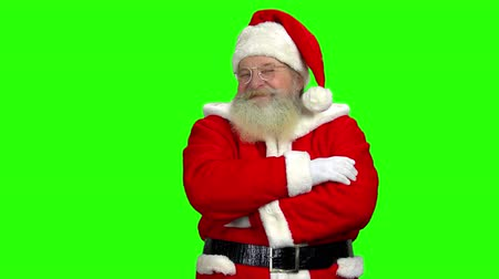 lenda : Santa Claus on chromakey background. Happy Santa with folded arm.