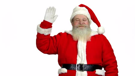 lenda : Santa waving his hand isolated. Santa Claus on white background.