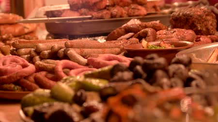 espetos : Roasted sausages and mushrooms. Tasty food macro. Stock Footage